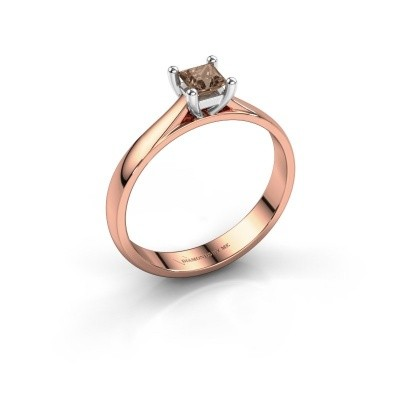 Engagement ring Sam Square 585 rose gold brown diamond 0.40 crt