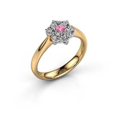 Promise ring Chantal 1 585 goud roze saffier 2.7 mm