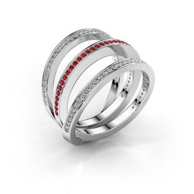 Ring Jaqueline 950 platina robijn 1 mm