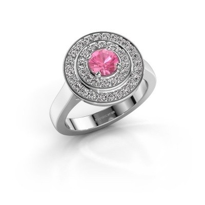 Ring Alecia 1 925 zilver roze saffier 5 mm