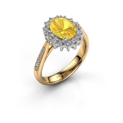 Verlovingsring Margien 2 585 goud gele saffier 7x5 mm