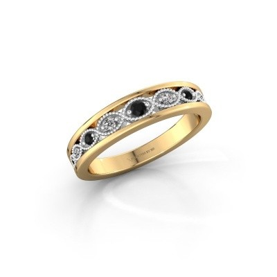 Bague superposable Laine 585 or jaune diamant noir 0.139 crt
