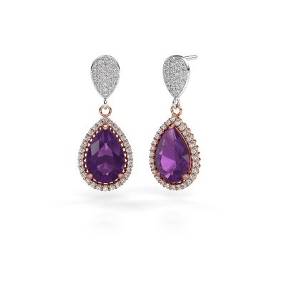 Drop earrings Cheree 2 585 rose gold amethyst 12x8 mm