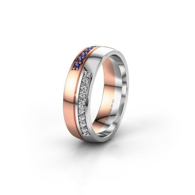 Wedding ring WH0213L26AP 585 rose gold sapphire ±0.24x0.07 in