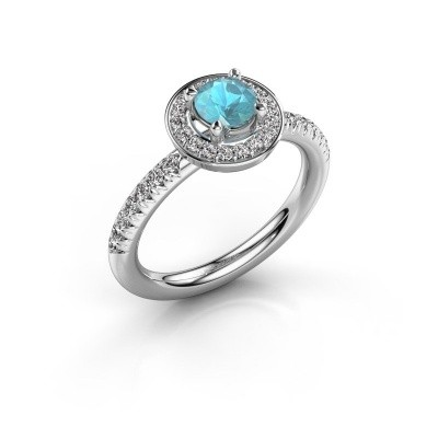 Foto van Ring Christine 950 platina blauw topaas 5 mm