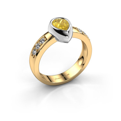 Ring Charlotte Pear 585 gold yellow sapphire 8x5 mm