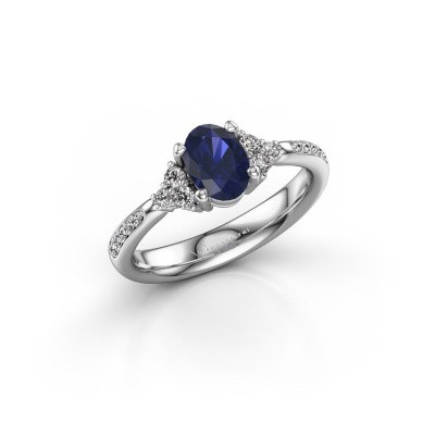 Picture of Engagement ring Aleida 2 585 white gold sapphire 7x5 mm