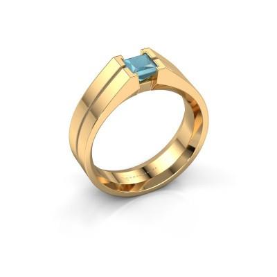 Foto van Heren ring Stefan 585 goud blauw topaas 4.5 mm