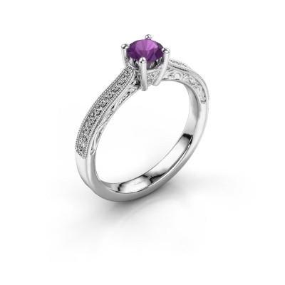 Belofte ring Shonta RND 585 witgoud amethist 4.7 mm