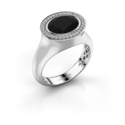 Ring Phebe 375 white gold black diamond 3.40 crt