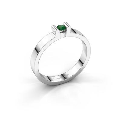 Verlovingsring Sofie 1 925 zilver smaragd 3 mm