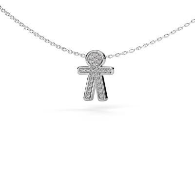 Hanger Boy 925 zilver zirkonia 1 mm