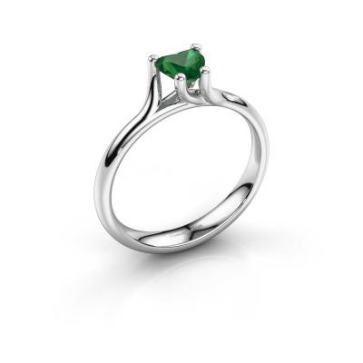 Engagement ring Dewi Heart 950 platinum emerald 5 mm