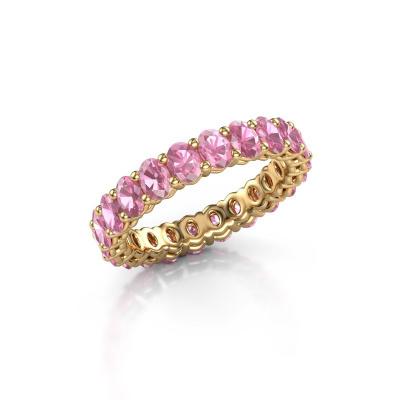 Vorsteckring Heddy OVL 3x4 375 Gold Pink Saphir 4x3 mm