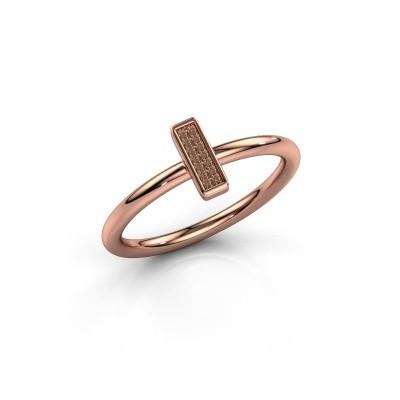 Ring Shape stripe small 375 rosé goud bruine diamant 0.035 crt