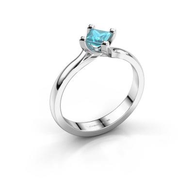 Engagement ring Dewi Square 950 platinum blue topaz 4 mm