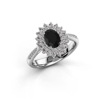 Aanzoeksring Alina 2 925 zilver zwarte diamant 0.96 crt