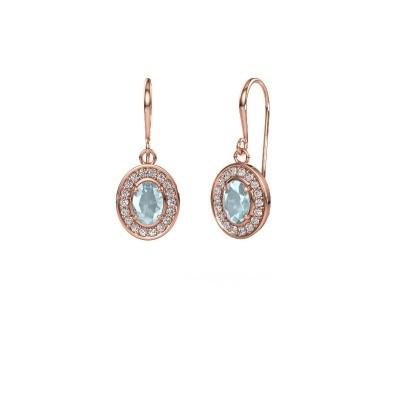 Drop earrings Layne 1 375 rose gold aquamarine 6.5x4.5 mm