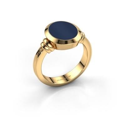 Foto van Zegelring Jake 2 585 goud donker blauw lagensteen 12x10 mm