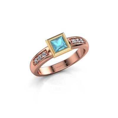 Stacking ring Lieke Square 585 rose gold blue topaz 4 mm