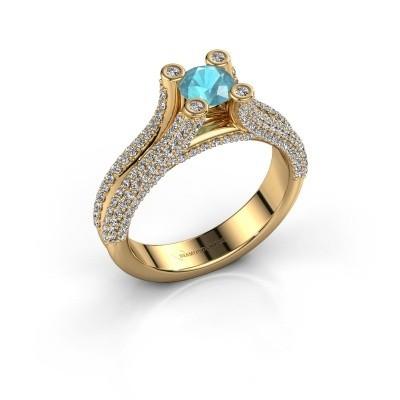 Verlobungsring Stefanie 2 375 Gold Blau Topas 5 mm