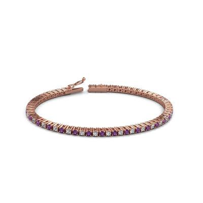 Tennisarmband Karin 2.4 mm 375 rosé goud amethist 2.4 mm