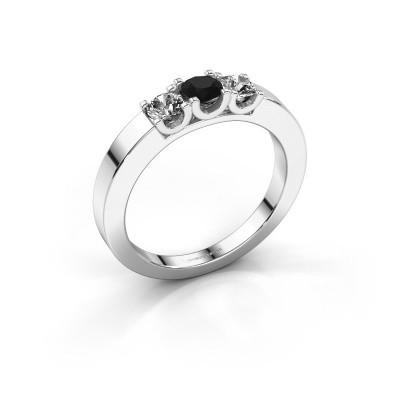 Foto van Verlovingsring Selina 1 585 witgoud zwarte diamant 0.54 crt