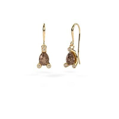 Foto van Oorhangers Bunny 1 585 goud bruine diamant 1.345 crt