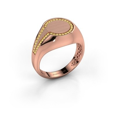 Heren ring Gijs 375 rosé goud gele saffier 1 mm
