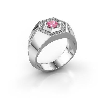 Foto van Heren ring Sjoerd 925 zilver roze saffier 4.7 mm