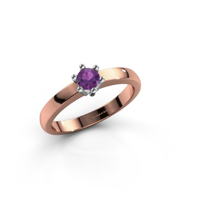 Engagement ring Luna 1 585 rose gold amethyst 3.7 mm