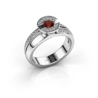 Ring Jeanet 2 585 white gold garnet 4 mm