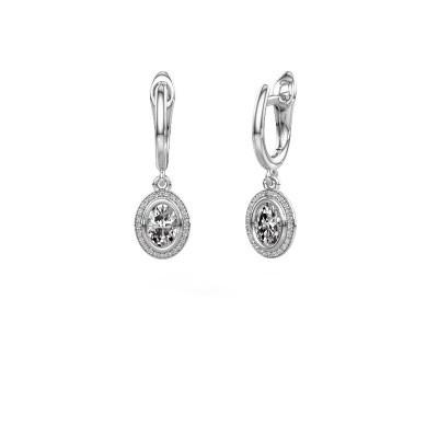Picture of Drop earrings Noud OVL 950 platinum diamond 0.50 crt