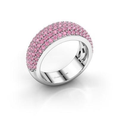 Foto van Ring Cristy 585 witgoud roze saffier 1.2 mm