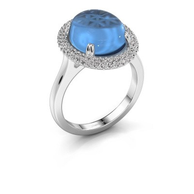 Ring Jayna 375 witgoud blauw topaas 12x10 mm