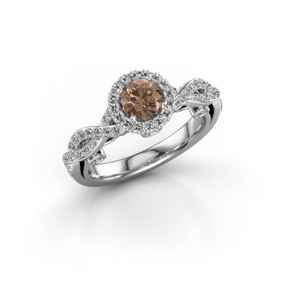 Verlovingsring Madeleine 950 platina bruine diamant 0.972 crt