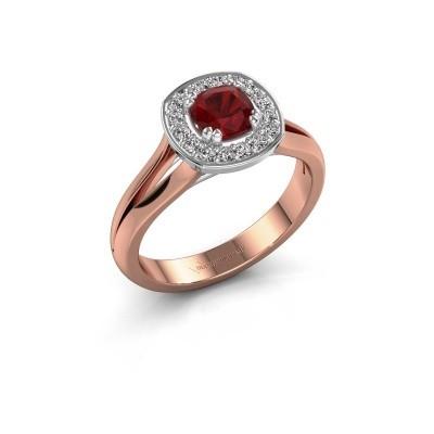Foto van Ring Carolina 1 585 rosé goud robijn 5 mm