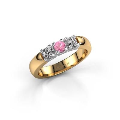 Foto van Verlovingsring Rianne 3 585 goud roze saffier 3.4 mm