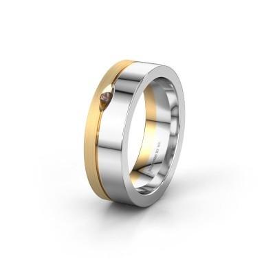 Wedding ring WH0329L16B 585 white gold smokey quartz ±6x2 mm