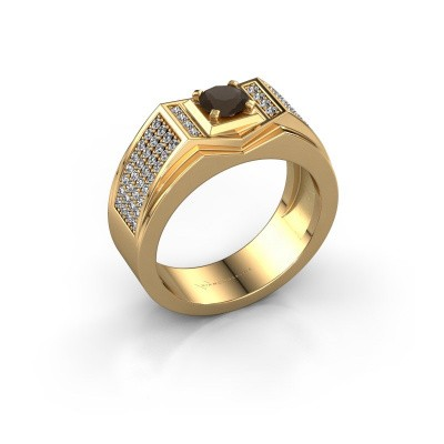 Men's ring Marcel 585 gold smokey quartz 5 mm