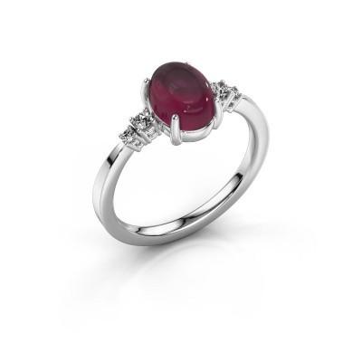 Ring Jelke 925 silver rhodolite 8x6 mm