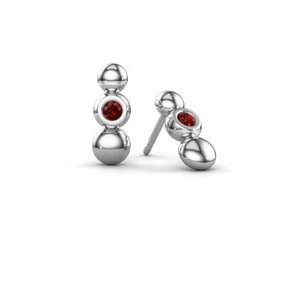 Picture of Earrings Lily 925 silver garnet 2.5 mm