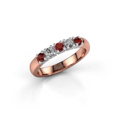Engagement ring Rianne 5 585 rose gold garnet 2.7 mm