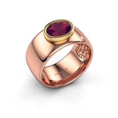 Ring Anouschka 585 rosé goud rhodoliet 8x6 mm