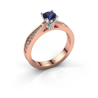 Engagement ring Evelien 585 rose gold sapphire 5 mm