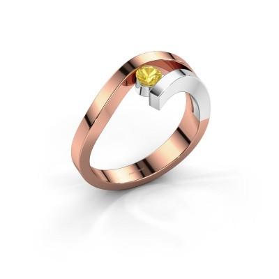 Foto van Ring Evalyn 1 585 rosé goud gele saffier 3.7 mm