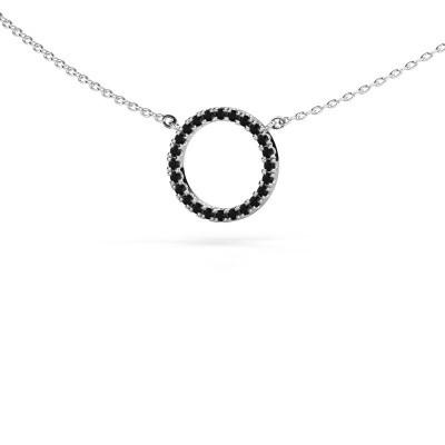 Hanger Circle 585 witgoud zwarte diamant 0.216 crt