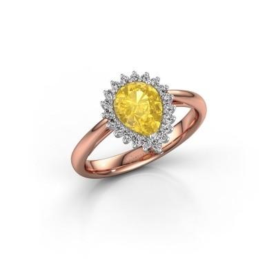 Foto van Verlovingsring Chere 1 585 rosé goud gele saffier 8x6 mm