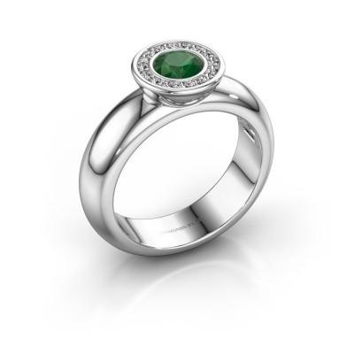 Foto van Stapelring Anna 585 witgoud smaragd 5 mm