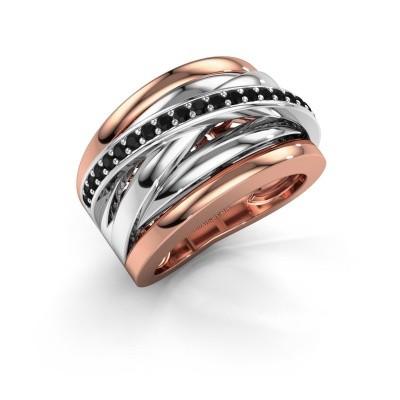 Foto van Ring Clair 1 585 rosé goud zwarte diamant 0.378 crt